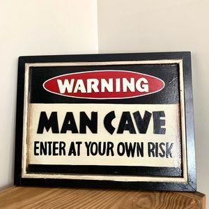 """Man Cave """"Warning"""" Wood Sign"""